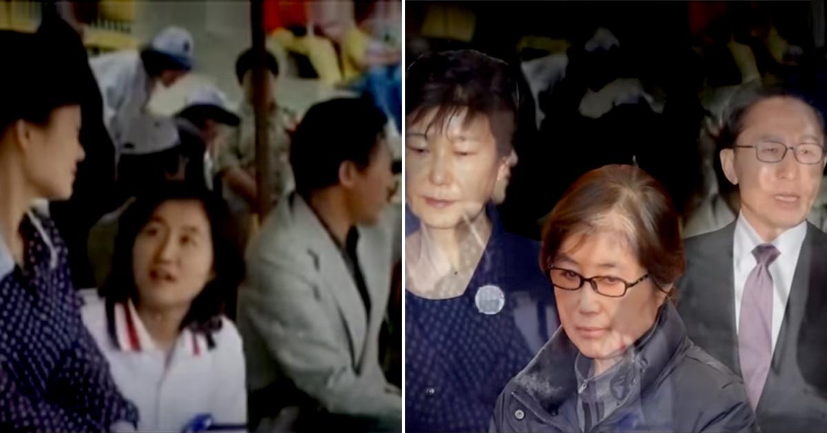 1979년 6월 10일 한양대 운동장에서 열렸던 제1회 새마음제전 당시 박근혜 전 대통령과 최순실씨, 이명박 전 대통령의 모습. [사진 JTBC]