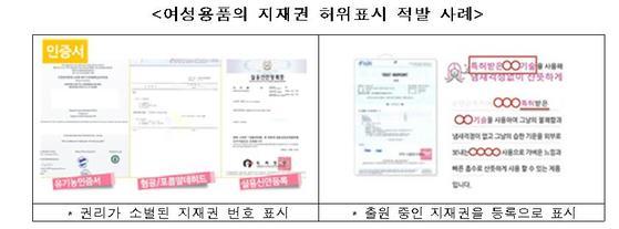 여성용품의 지재권 허위표시 적발 사례 [특허청=연합뉴스]