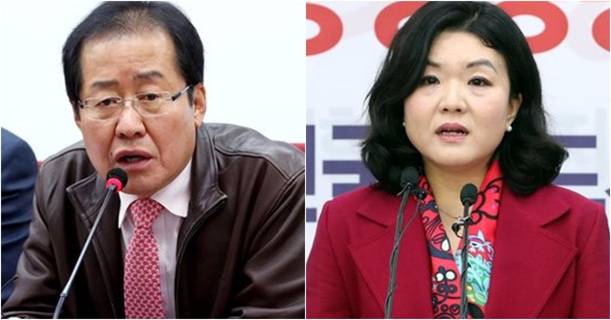 홍준표 자유한국당 대표(왼쪽)와 류여해 전 최고위원. [뉴스1]