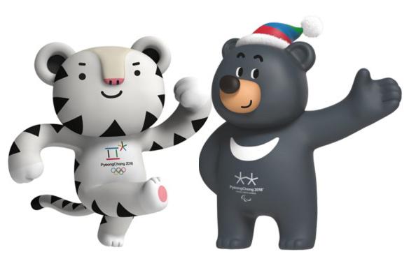 2018 평창 겨울올림픽 마스코트, 수호랑(왼쪽)과 반다비.