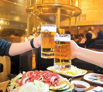 비루엔의 칭기즈칸과 '삿포로 클래식' 맥주.