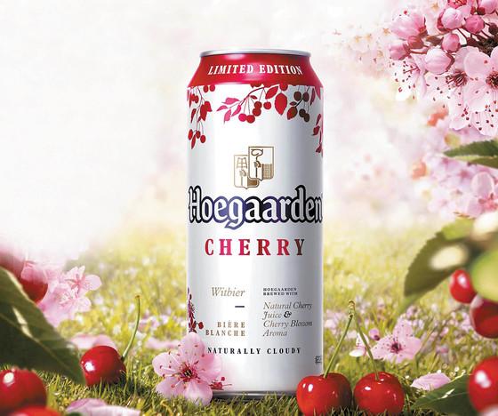 벚꽃이 피는 봄을 맞아 출시하는 호가 든 체리는 호가든 고유의 밀맥주 맛에 상큼한 체리의 풍미가 어우러진 한정 기획 제품이다. [사진 오비맥주]