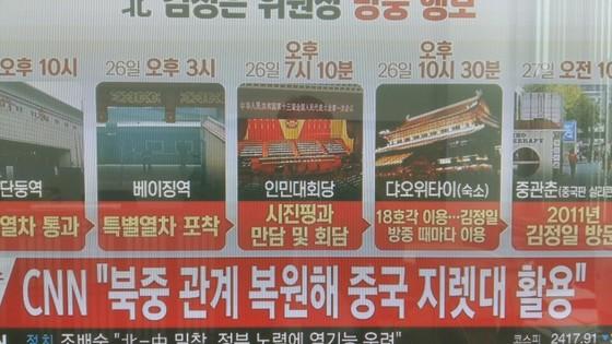 김정은 위원장의 방중 행보를 설명한 그래픽. 그 중에 '시진핑과 만담 및 회담'이란 표기한 문장이 보인다. [사진 YTN 캡처]