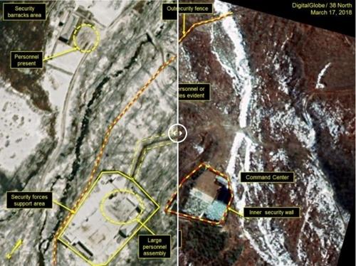 북한전문매체 38노스가 공개한 지난 2일(왼쪽)과 17일 촬영된 풍계리 핵실험장의 위성 사진. 전문가들은 남북, 북미 대화무드와 함께 공사가 상당히 둔화됐다고 분석했다. [38노스 캡처=연합뉴스]
