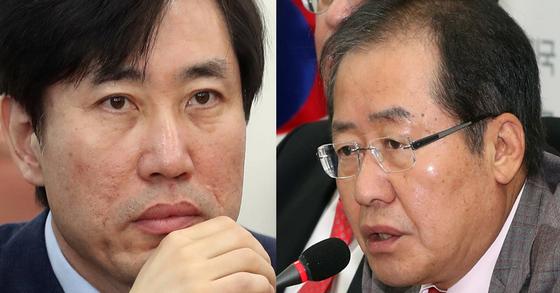 하태경 바른미래당 의원(좌)과 홍준표 자유한국당 대표(우). [중앙포토]