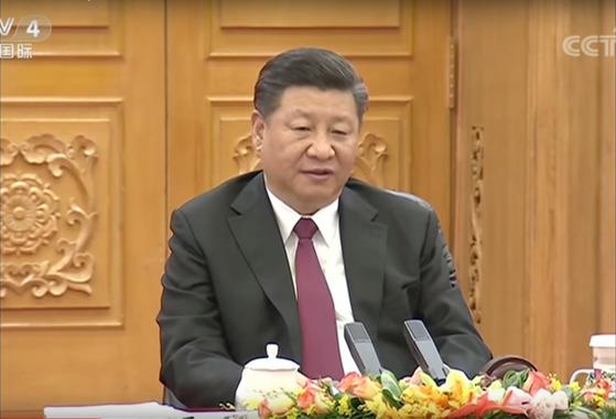 북·중정상회담에서의 시진핑 중국 국가주석. [CCTV 캡처]