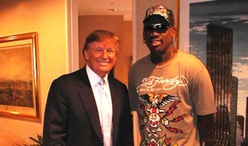 데니스 로드맨은 2016년 미국 대선 당시 자신의 트위터에 도널드 트럼프 후보를 대통령으로 지지한다고 밝혔다. [사진 데니스 로드맨 트위터(twitter.com/dennisrodman)]