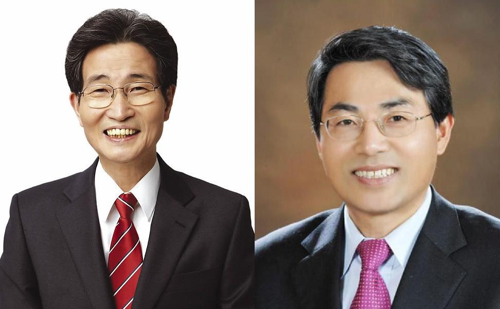이목희(왼쪽) 신임 일자리위원회 부위원장과 김정렬 국토교통부 제2차관