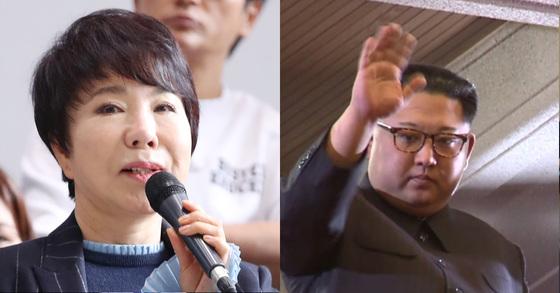 가수 최진희(왼쪽)와 김정은 북한 노동당 위원장.[연합뉴스·중앙포토]