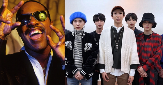 Stevie Wonder (left) and BTS (right)
