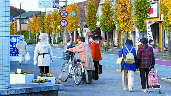 일본 사이타마현 하토야마 뉴타운은 출산율 0.6명, 노인 비율 38%의 노인 도시다. 20년 새 인구가 20% 줄어 주택 25%가 비었다. 거리에서 젊은이는 보기 힘들고 개와 산책하는 노인은 흔하다. [중앙포토]