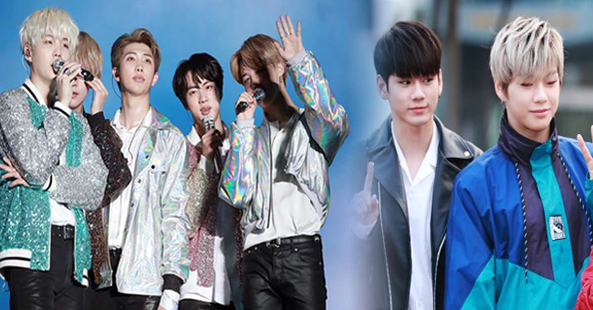 BTS (left) and Wanna One (right)