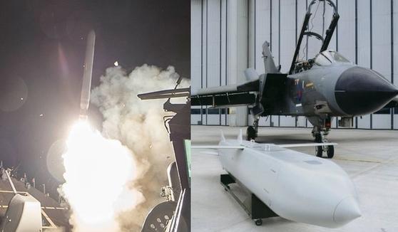 지난해 4월 시리아 공습에 사용된 토마호크 순항 미사일(왼쪽)과 영국 스톰 섀도 미사일, 전투기는 토네이도 GR4 전투기. [사진 로이터=연합뉴스, 에어로스페이스웹]