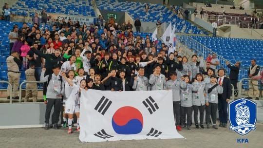 2019 프랑스 여자월드컵 본선 진출을 확정한 한국 여자축구대표팀. [사진 대한축구협회]