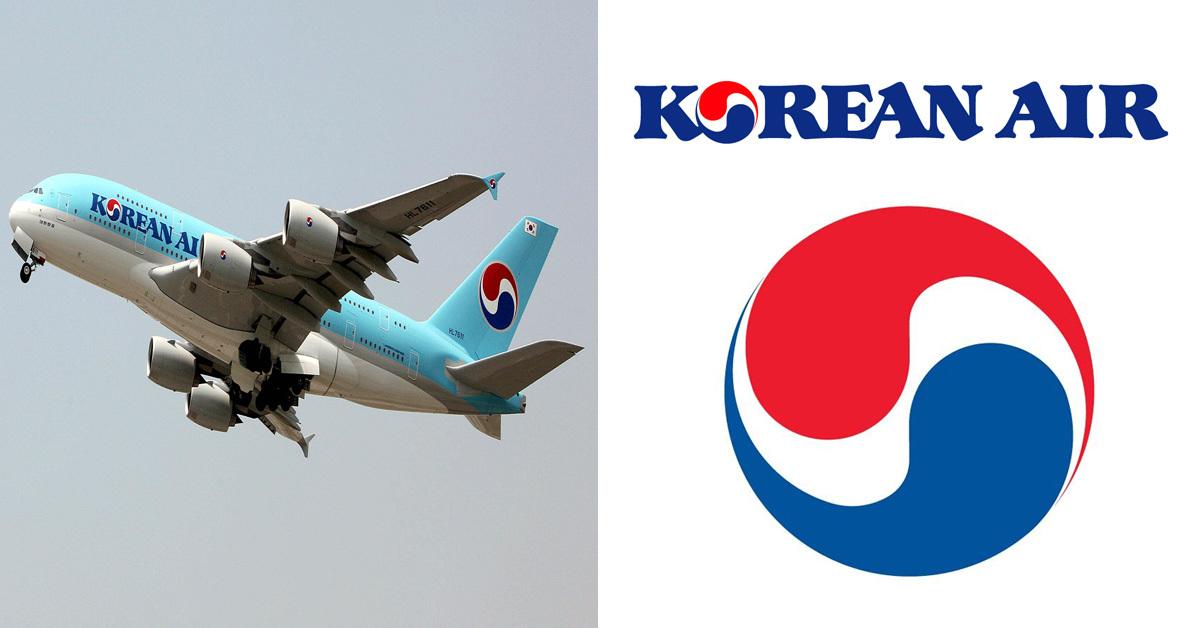 대한항공 비행기(왼쪽)와 로고 및 심벌 마크 (오른쪽) [대한항공]