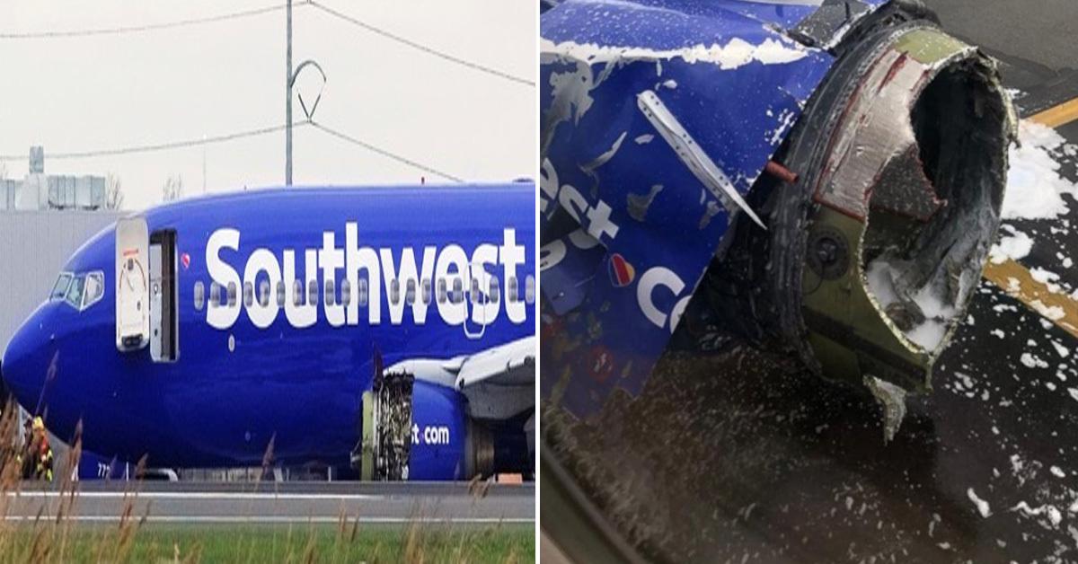 비상착륙한 미 사우스웨스트항공 여객기(왼쪽)와 부서진 여객기 엔진(오른쪽) [AP, 로이터=연합뉴스]