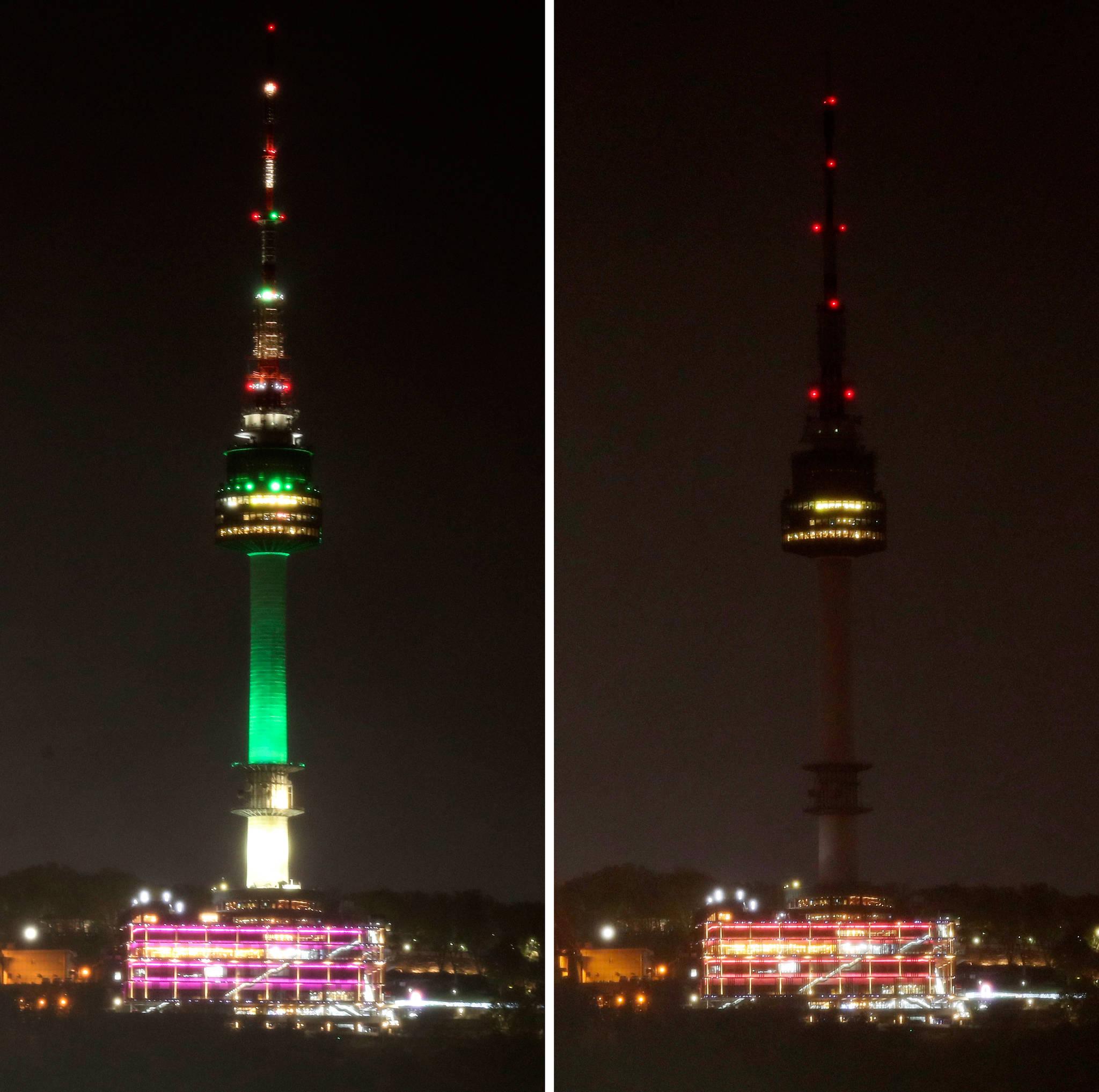 '지구의 날'을 맞아 22일 오후 8시 서울 중구 남산 N타워 조명이 소등되고 있다. 임현동 기자