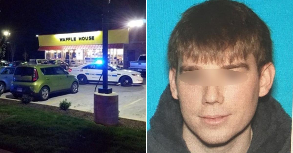 총격이 발생한 와플 가게(왼쪽). 경찰은 일리노이주에서 온 29세 남성을 용의자로 지목하고 수색에 나섰다.(오른쪽) [네슈빌시 경찰 제공]