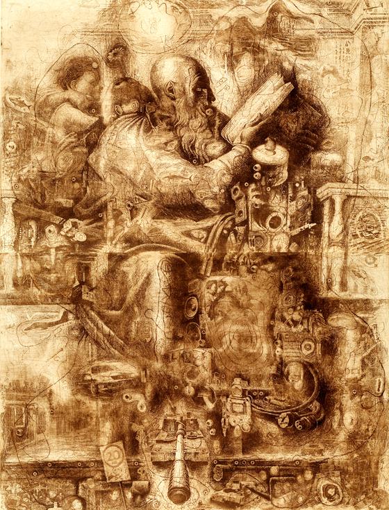 하임성, 7명의예언자들-자카리아, 에칭, 90x120cm, 2009.