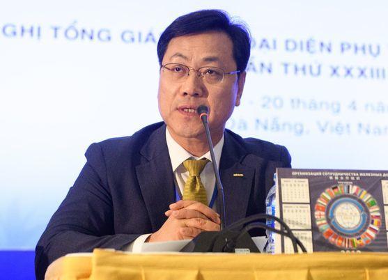 오영식 사장이 19일 베트남 다낭에서 열린 OSJD 사장단 총회에서 연설하고 있다. [사진 코레일]