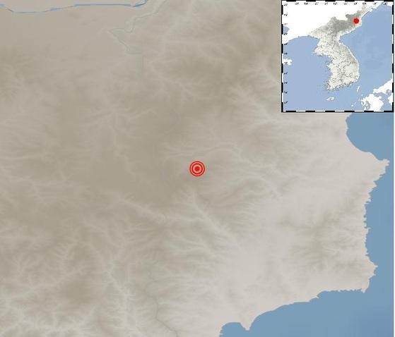 23일 새벽 북한 풍계리 인근에서 지진이 발생한 지점 [자료 기상청]