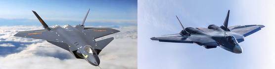 중국의 스텔스 전투기인 J-20(왼쪽)과 러시아의 스텔스 전투기인 Su-57. [사진 유튜브 캡처ㆍ러시아 국방부]