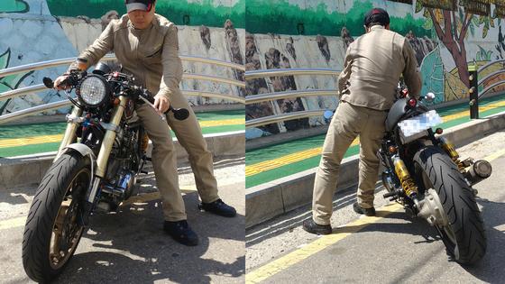 시동이 걸리지않은 상태에서 무거운 모터사이클을 안전하게 방향전환하는 방법은 바이크의 좌측에서 옆 엉덩이를 시트에 밀착시키며 몸으로 지탱해 A자 형태를 유지하는 방법이다. [사진 현종화]