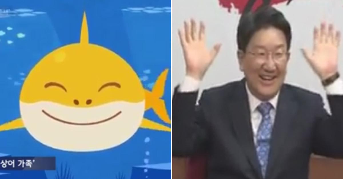 스마트스터디 핑크퐁 '상어가족'(왼쪽) 과 지난 25일 한국당 선거송 발표장에서 '아기상어'를 듣고 흥이 난 권성동 의원 [JTBC 뉴스룸 화면 캡처]