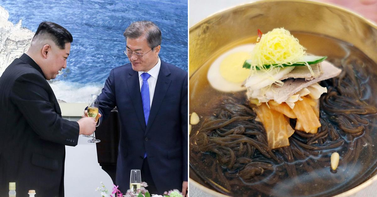 27일 오후 판문점 평화의 집에서 열린 환영만찬에서 문재인 대통령과 김정은 국무위원장이 건배하고 있다.(왼쪽) 옥류관 냉면(오른쪽). 평양공연 사진공동취재단