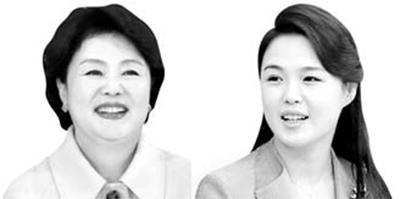 김정숙(左), 이설주(右)