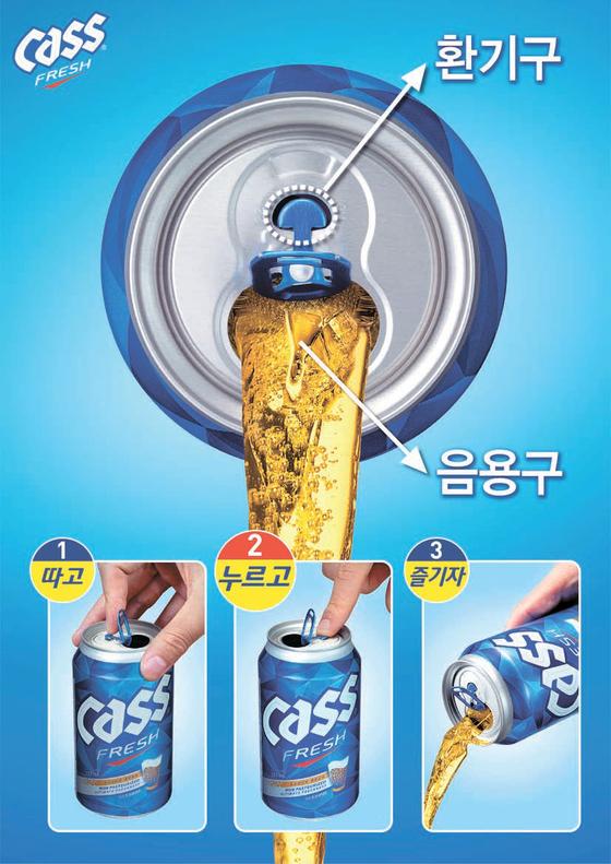 지난해 6월 카스 캔 맥주에 적용한 '프레시탭 (Fresh Tab)'. 일반 캔과 달리 캔 상단에 별도 의 작은 숨구멍을 특수 설계해 음용 시 공기 저 항을 줄여주는 특허 기술이다. [사진 오비맥주]