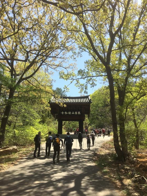 산행 들머리로 향하는 길에 만난 유가사 일주문. 싱그러운 초록 잎 사이로 쏟아지는 볕이 좋다. [사진 하만윤]