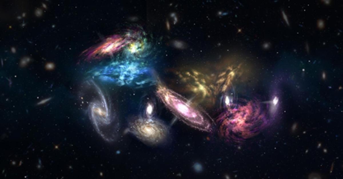 14개 은하 충돌 장면을 보여주는 상상도[NRAO/AUI/NSF/S. Dagnello=연합뉴스]