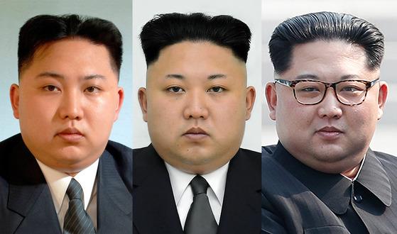 김정은 눈썹 변천사 (좌부터) 정권 초기.공포정치 시기.4.27 정상회담 시.