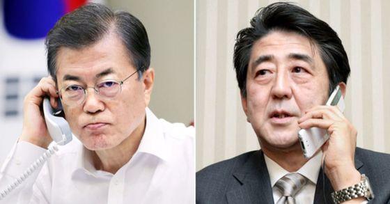 문재인 대통령과 아베 신조 일본 총리. [연합뉴스]