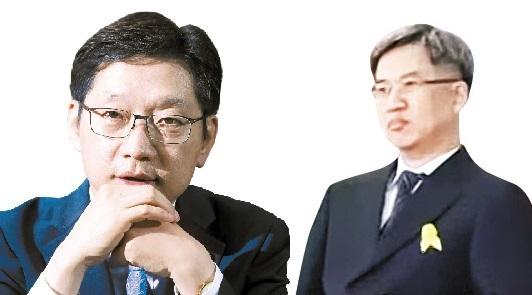 김경수 더불어민주당 의원(왼쪽)과 '드루킹' 김동원씨. [중앙포토]
