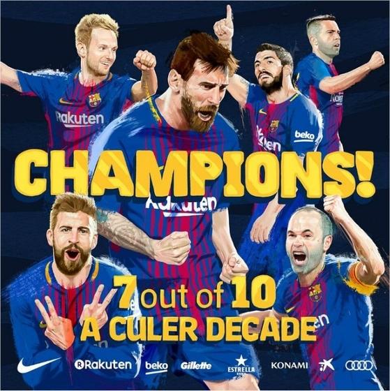 메시(가운데)를 앞세운 바르셀로나가 통산 25번째 스페인 정규리그 우승을 차지했다. [바르셀로나 트위터]