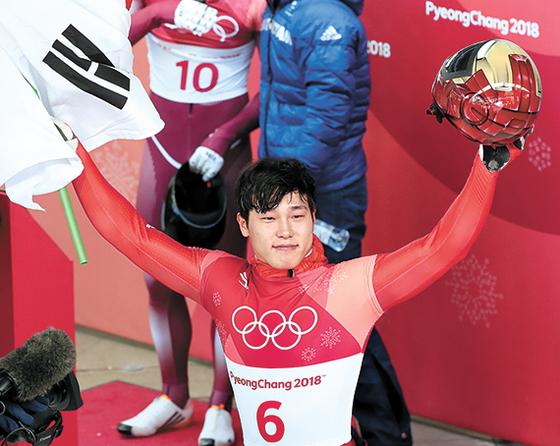 한국 겨울올림픽 사상 첫 스켈레톤 금메달을 딴 윤성빈. [중앙포토]