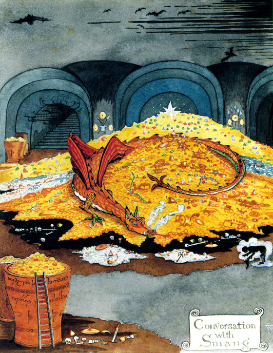 J R R 톨킨이 직접 그린 그림 '스마우그에 맞서는 빌보'.