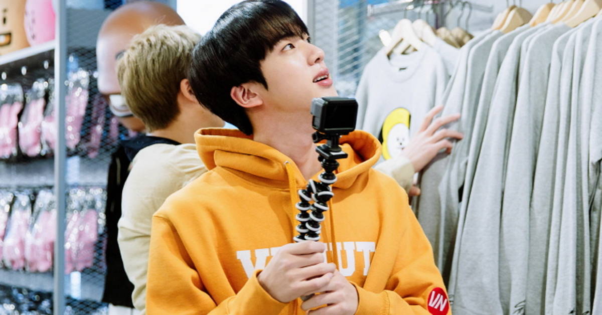 BTS Jin visited the Itaewon branch of LINE FRIENDS last January to celebrate the official sales of BT21, Photo from News1