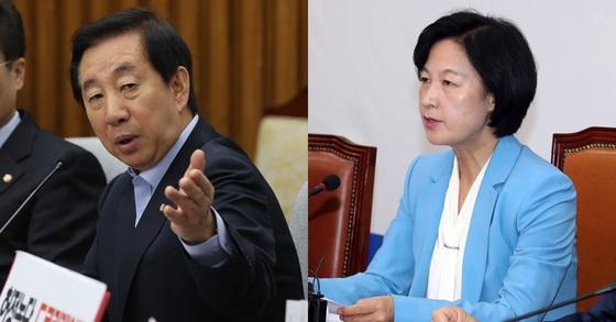 자유한국당 김성태 원내대표(왼쪽)와 더불어민주당 추미애 대표. 오종택 기자, 강정현 기자.