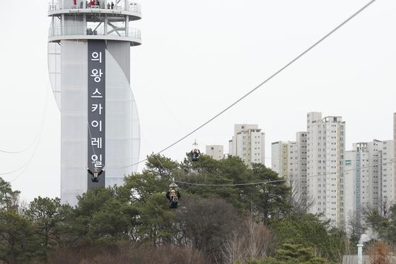 경기도 의왕시가 최근 선보인 스카이레일. 자연학습공원 초입에 있는 동산에 세워진 41m 높이의 타워에서 레일바이크 매표소까지 350m를 하강하는 3개 라인으로 이루어져 있다. [사진 의왕시]