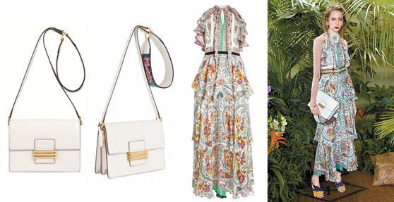 여름 시즌을 맞아 에트로가 선보인 페이즐리 맥시 드레스와 화이트 레인보우 백. 리조트룩을 연상시키는 드레스는 여성스러운 느낌을 물씬 풍긴다. [사진 에트로]
