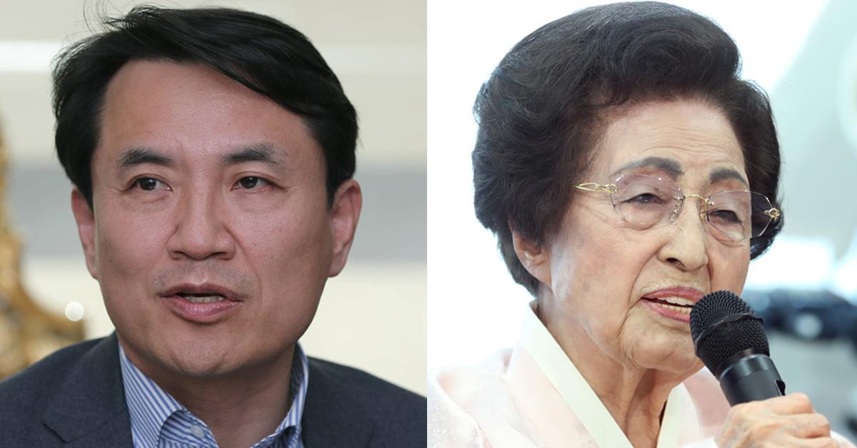 김진태 자유한국당 의원(왼쪽)과 이희호 여사(오른쪽) [중앙포토]