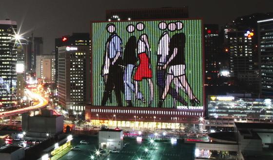 군중(CROWD)': 서울스퀘어 미디어캔버스 LED벽에 설치, 7800×9900CM, 2009, 줄리안 오피. [사진 허유림]