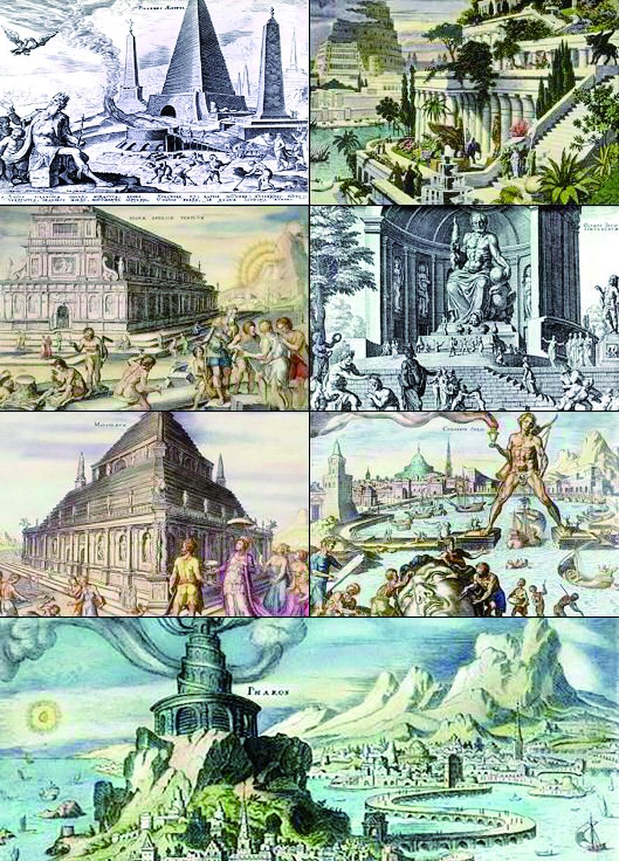 고대 그리스 시대 세계 7대 불가사의. 왼쪽 위부터 이집트의 피라미드, 바빌론의 공중정원, 에페수스의 아르테미스 신전, 올림피아의 제우스상, 마우솔로스 능묘, 로도스섬의 헬리오스상, 알렉산드리아의 파로스 등대. [위키피디아]