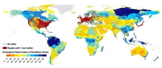 인간에겐 문명의 혜택인 도로가 지구에겐 생태계를 갈라놓은 상처와 같다. 빨간 곳은 도로가 밀집돼 생태계가 망가진 곳, 파란 곳은 도로가 적어 상대적으로 생태계가 잘 보존되고 있는 곳이다. [사이언스]
