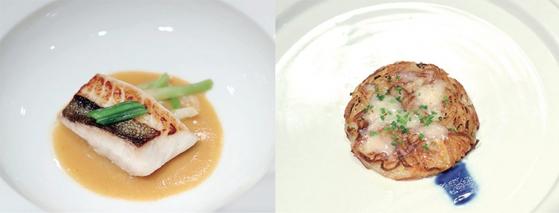 부산의 대표적인 생선인 달고기 요리(왼쪽)는 유럽에서도 고급 생선으로 분류되며 북한 해역에서는 잡히지 않는 고기로 알려져 있다. 부산에서 유년 시절을 보낸 문재인 대통령의 기억과 유럽 스위스에서 유년 시절을 보낸 김정은 위원장의 기억이 공감할 수 있는 음식이다. 스위스식 감자요리인 뢰스티를 우리 식으로 재해석한 감자전은 스위스에서 유년 시절을 보낸 김정은 위원장을 위해 마련했다. / 사진:청와대