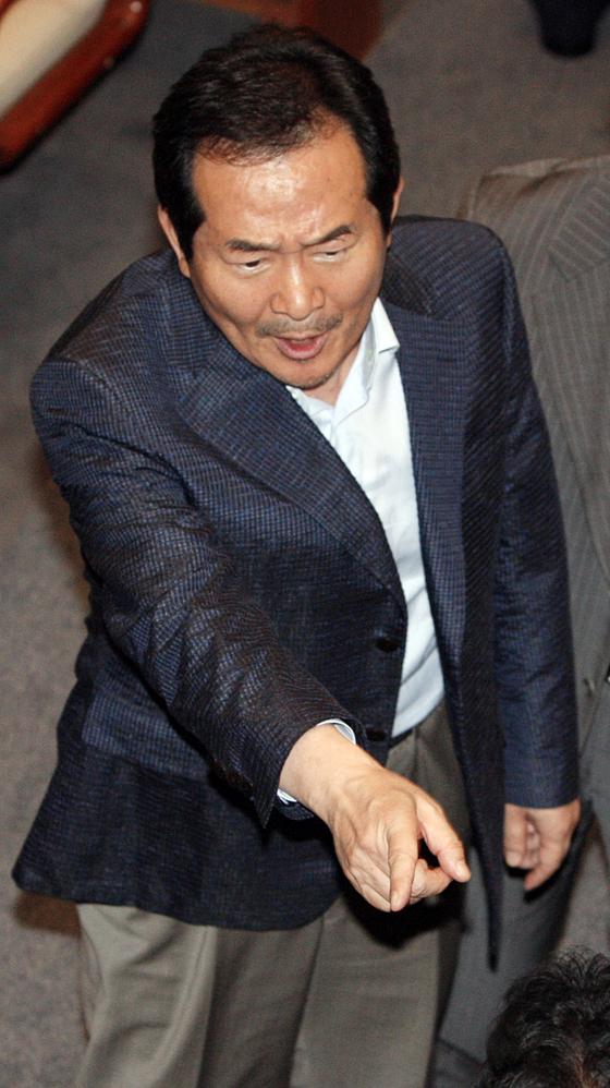 2009년 7월 미디어법 통과에 항의하는 정세균 당시 민주당 대표 [중앙포토]