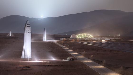 스페이스X의 빅팔콘로켓이 화성의 우주기지에 도착한 모습의 상상도 [사진 스페이스X]